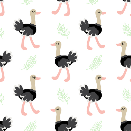 Cute cartoon ostrich