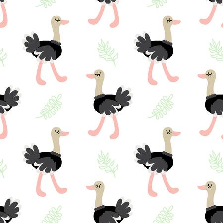 Cute cartoon ostrich