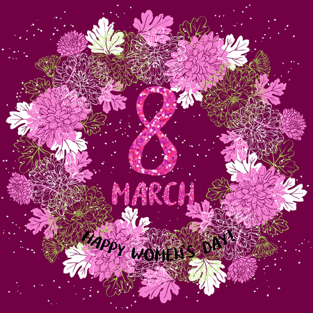 8 March greeting card template with flower wreath. International Womens day poster, flyer or invitation. Vector illustration. Illustration