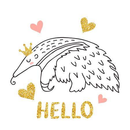 Cute sleeping anteater Ilustrace