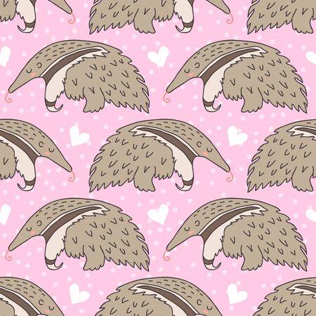 Cute sleeping anteater Illustration