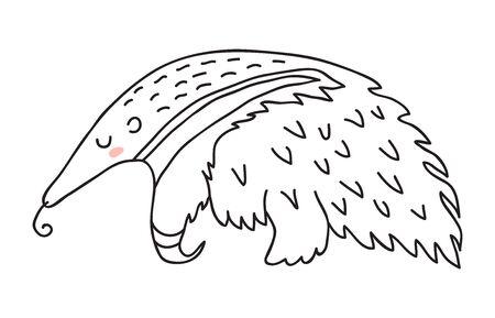Isolated cute cartoon sleeping anteater vector illustration