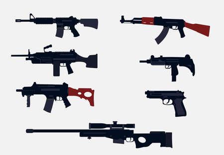 assault rifle guns set vector design.g36c rifle,m240 rifle,m14 rifle,sniper,pistol,uzi handgun. Vektoros illusztráció