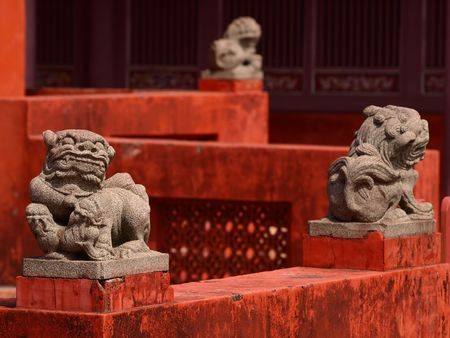 The carving-lion of Tainan Confucius Temple photo