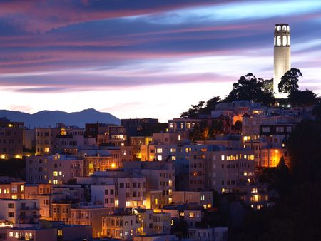coit tower: The night scene of Coit Tower.