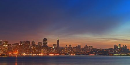 nob hill: High Resolution Panorama Image of Night Scene in San Francisco