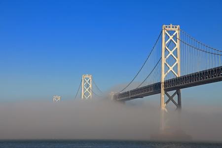 misted: San Francisco Bay Bridge Misted Over Stock Photo