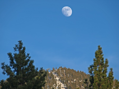 rise above: Moon Rise above Snow Mountain