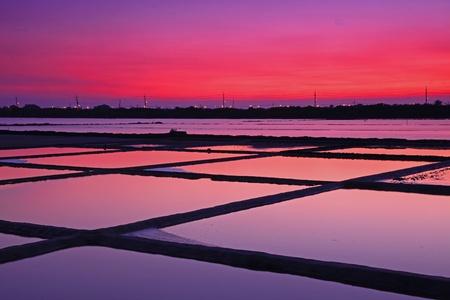 Beautiful Night Scene of Salt Pan in Tainan, Taiwan
