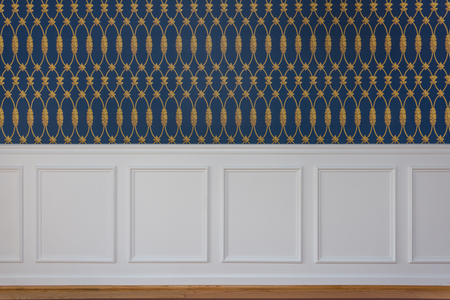 White rectangle wood paneling with trim chair guard, blue and gold interwoven wallpaper