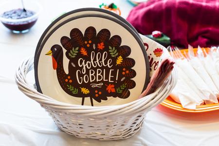 Thanksgiving themed plates, napkins, and forks 版權商用圖片