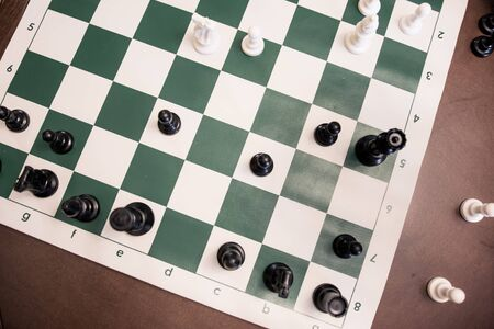 View from above of chess game on standard tournament board