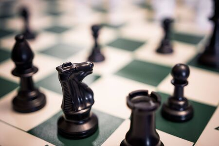Close up of chess game on standard tournament board