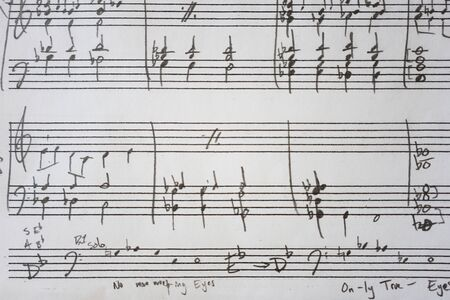 Penciled in chords and rhythms on blank staff sheet music Imagens