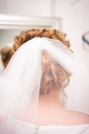 White bridal veil in done up brides hair before ceremony