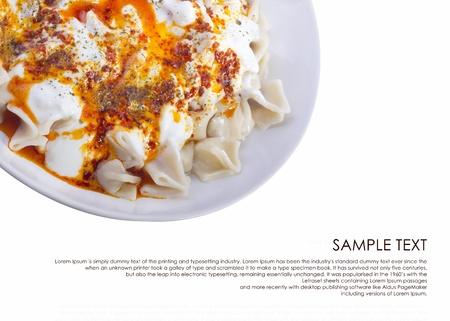 ravioli: turkish ravioli isolated on white