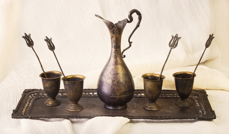 silver plated: Antique silver set
