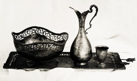 Antique silver set photo
