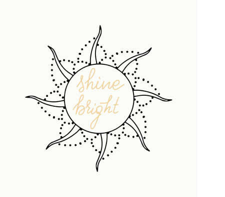 Sine bright hand drawn lettering on white background in stylized sun copyspace