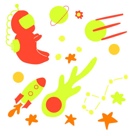 Collection of spaceships and planets, space theme isolated contrast vector illustration
