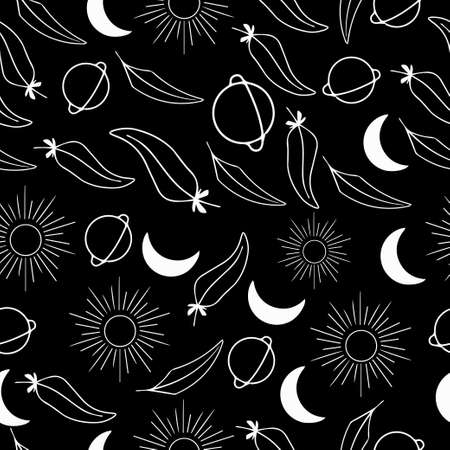 sun moon planet feathers boho vector seamless pattern white elements on black background wiccan pagan witchcraft hygge style monochrome repeat background Ilustración de vector