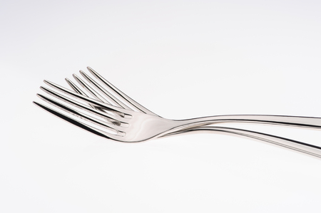 Steel fork isolated on white background