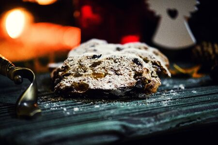 Christmas stollen. Traditional German, European festive dessert.