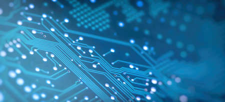High Tech Circuit Board. Creative blurry blue circuit wallpaper. Technology and computing concept. Network Technology Background. 版權商用圖片