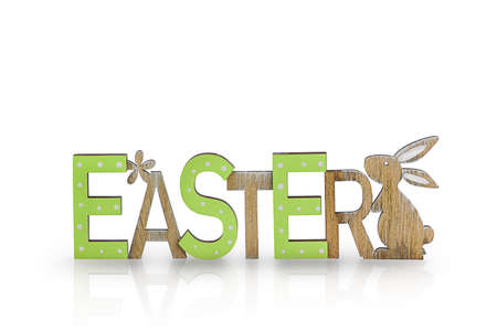 Happy easter bunny with wooden text.