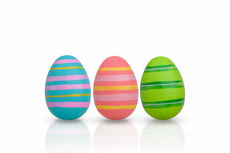 A set of hand-painted Easter eggs isolated on white. 版權商用圖片