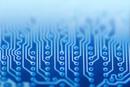 Circuit Board, Blue, Computer, Data. Macro technology. Network Technology Background