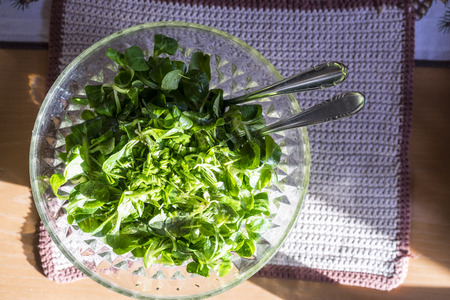 downloaded: Leafy fresh green salad in a healthy diet concept standing outdoors in the sunshine in a glass bowl, overhead view