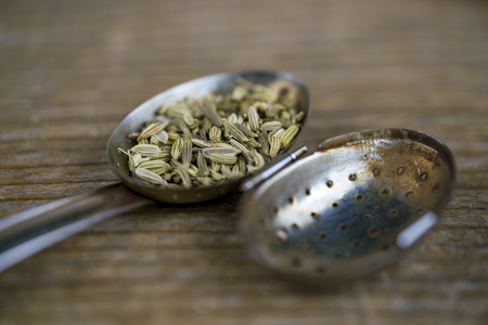 A close up of fresh fennel tea seeds in a metal strainer on a rustic timber table.