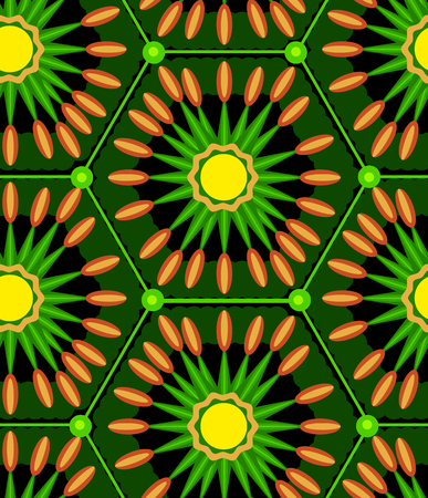 inscribed: Seamless pattern with abstract geometric shapes, inscribed in the hexagons.Green Illustration