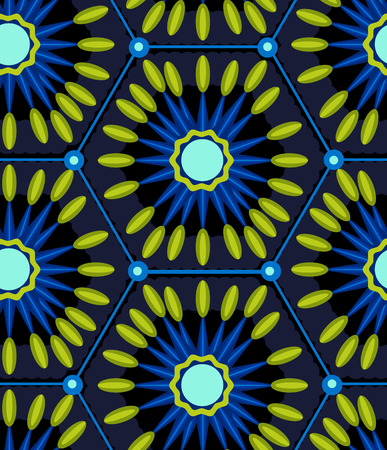 inscribed: Seamless pattern with abstract geometric shapes, inscribed in the hexagons