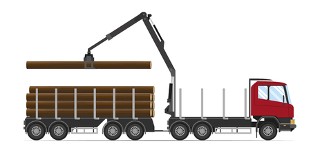 Forestry equipment. Timber. Logging truck with load
