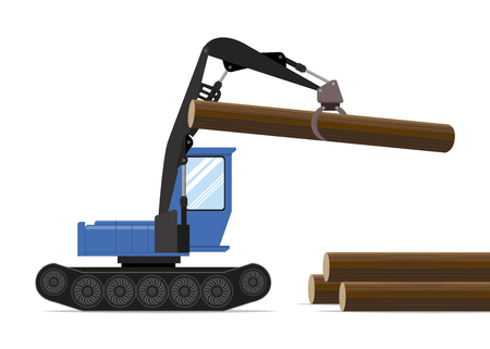 softwood: Forestry equipment. Tractor Illustration
