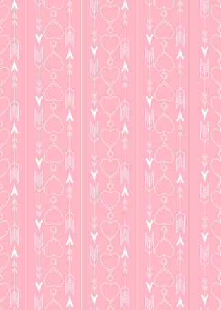 Seamless pattern with white arrows and contour hearts on pink background