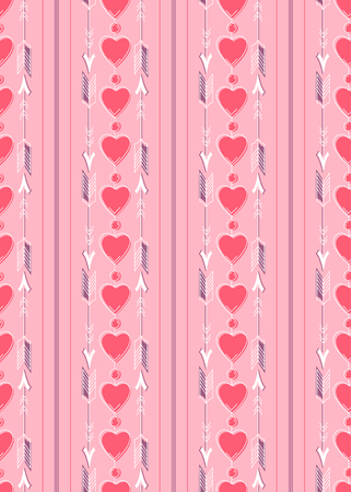 Seamless pattern with white arrows and red hearts on a pink background