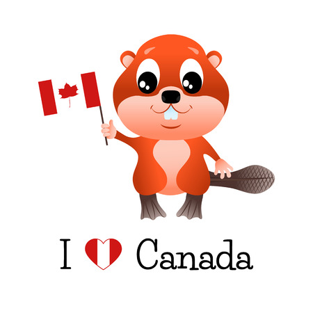 i love canada: Beaver with canadian flag and the words I love Canada.