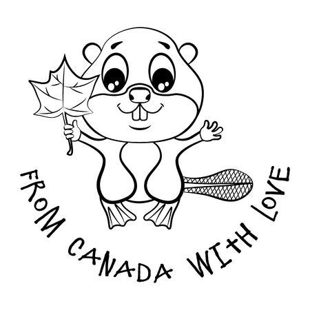 canadian flag: Beaver with a maple leaf in the paw and an inscription.