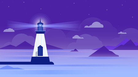 Lighthouse in a calm sea at night.