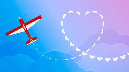 vapor trail: Plane in the sky and a vapor trail in the shape of a heart. Illustration