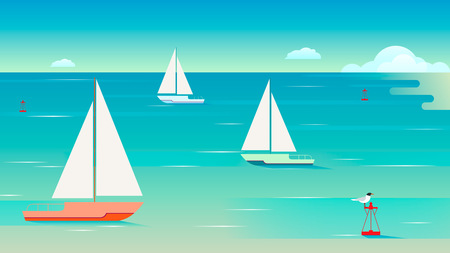 Seascape with sailing yachts.