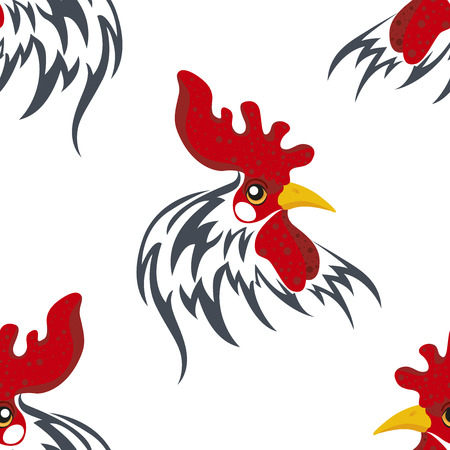 Seamless pattern with the head of a cock