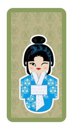 symbolize: Japanese doll, Kokeshi with butterflies on green textured background