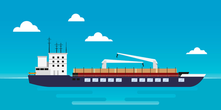 Cargo ship for the transportation of timber with a crane