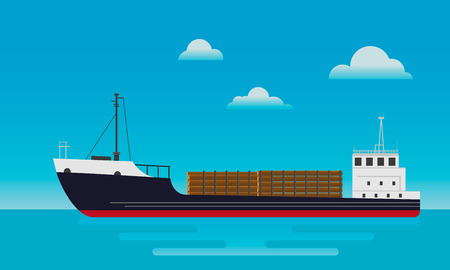 A cargo ship for the transportation of timber. Vector Illustration