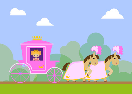 The carriage of the Princess, driven horses