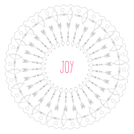 symbolize: A circular pattern of elements that symbolize Valentines day, with the inscription Joy